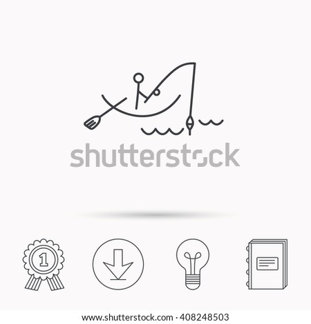 Fishing icon. Fisherman on boat in waves sign. Spinning sport symbol. Download arrow, lamp, learn book and award medal icons. - stock photo