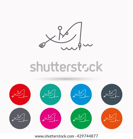 Fishing icon. Fisherman on boat in waves sign. Spinning sport symbol. Linear icons in circles on white background. - stock photo