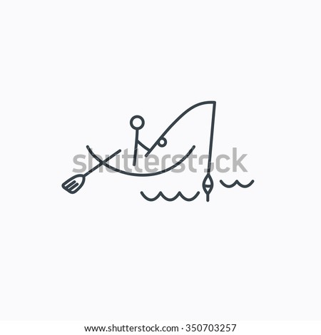 Fishing icon. Fisherman on boat in waves sign. Spinning sport symbol. Linear outline icon on white background. - stock photo
