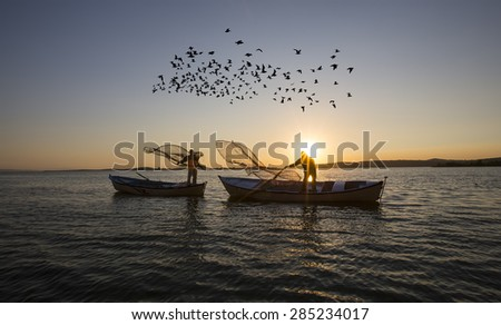 fishing net - stock photo