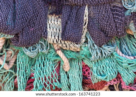 Fishing net background - stock photo