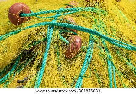 Fishing nets closeup. - stock photo