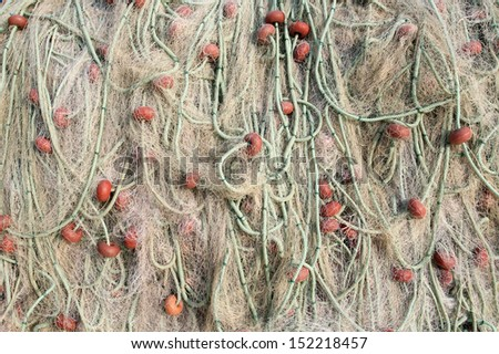 Fishing nets in a pile - stock photo