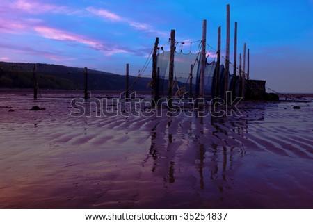 Fishing nets in Ste-Irenee, Quebec - stock photo