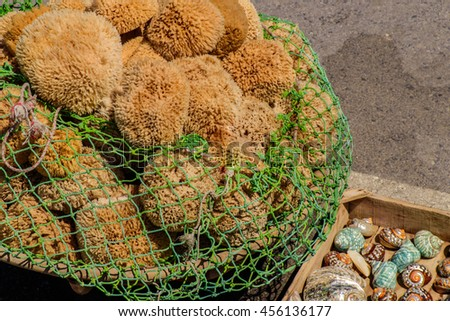 Fishing nets on the quay - stock photo