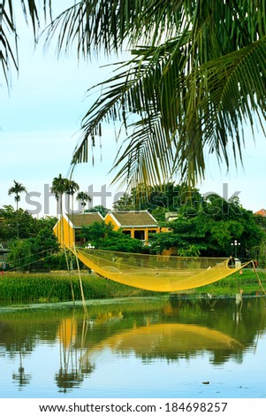 fishing nets on the Thubon river, Hoi An, Vietnam - stock photo