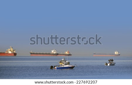 Fishing on the sea, English Bay by Vancouver, British Columbia, Canada - stock photo