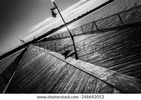 Fishing pier at Cape Henlopen State Park, Delaware - stock photo