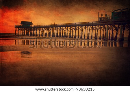 Fishing pier in Cocoa Beach, Florida - stock photo