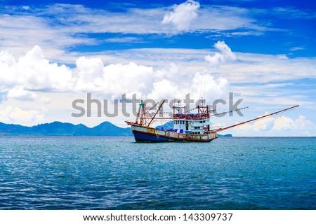 Fishing ship in Andaman sea Thailand - stock photo