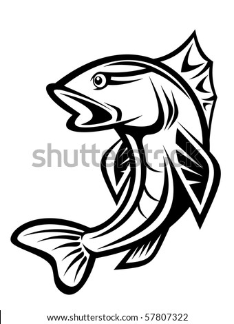 Fishing symbol. Vector version also available in gallery - stock photo