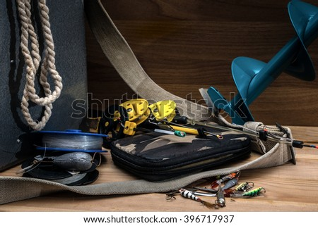 Fishing tackle for winter fishing - stock photo