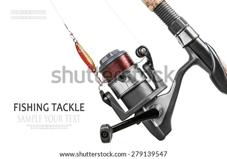 fishing tackle isolated on white. Focus on fishing lures, shallow depth of field. Text example - stock photo