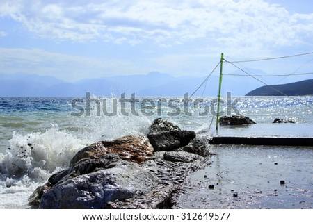 fishing village of Galaxidi in the Greece - stock photo