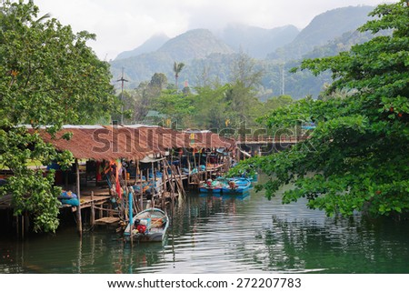 Fishing village on the island in Southeast Asia - stock photo
