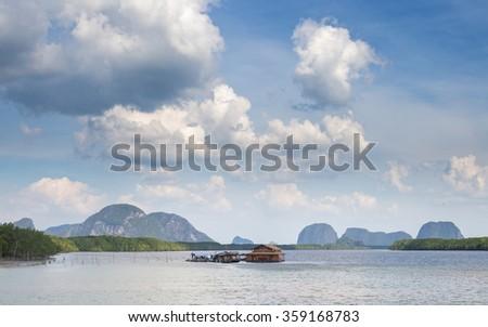 Fishing village on the sea - stock photo