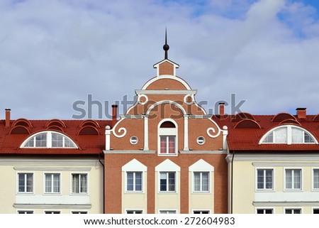 Fishing village - stylization German architecture 19th century. Kaliningrad (before 1946 Koenigsberg), Russia - stock photo