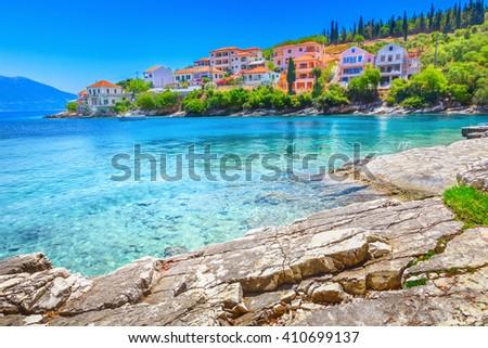 Fiskardo beach, Kefalonia island, Greece - stock photo