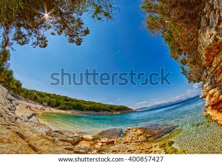 Fiskardo Foki Beach of Kefalonia Bay Fisheye view - stock photo