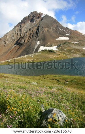 Fissile Peak and Russet Lake in Garibaldi Provincial Park, British Columbia, Canada. - stock photo