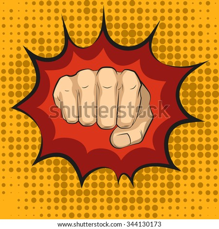 Fist hitting, fist punching in pop art style. Human violence, knuckle and impact, illustration - stock photo