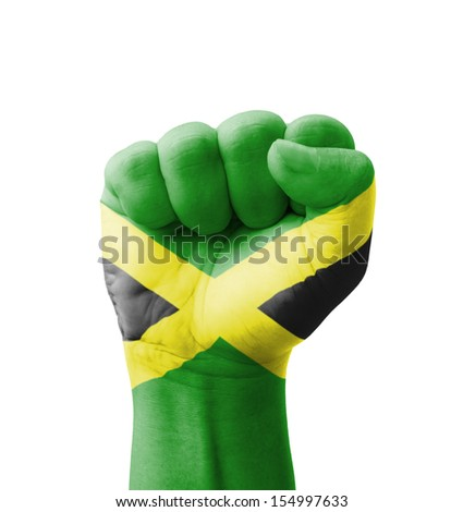 Fist of Jamaica flag painted, multi purpose concept - isolated on white background - stock photo
