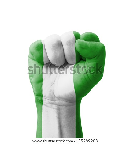 Fist of Nigeria flag painted, multi purpose concept - isolated on white background - stock photo