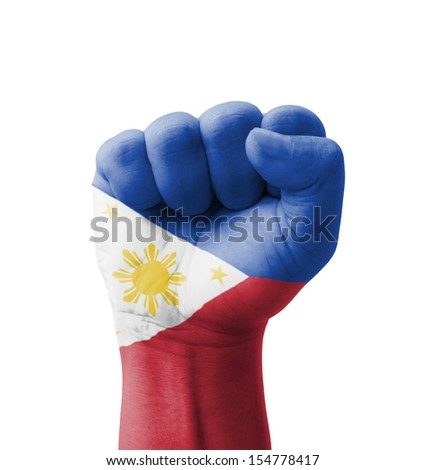 Fist of Philippines flag painted, multi purpose concept - isolated on white background - stock photo