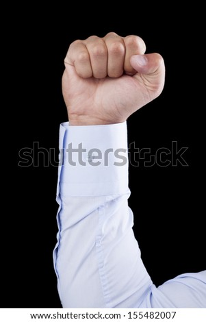 fist on black background  - Stock Image  - stock photo