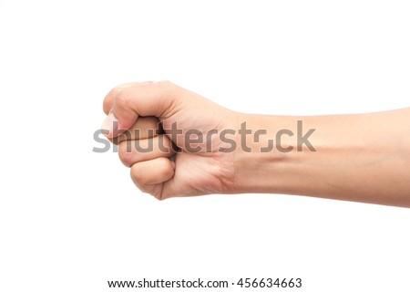 fist on white background - stock photo