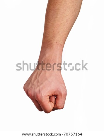 Fist, over white background - stock photo