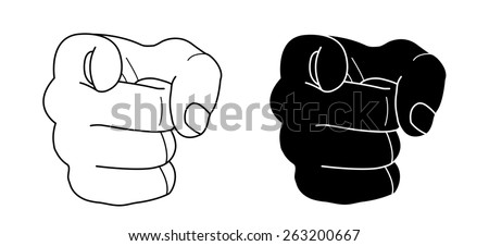 Fist with pointing finger. Contour lines, black silhouette. Raster clip art illustration isolated on white - stock photo