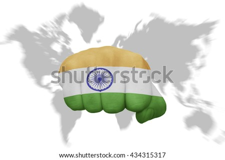 fist with the national flag of india on a world map background - stock photo