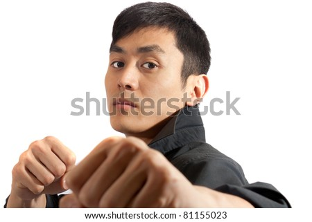 Fists coming at you. - stock photo