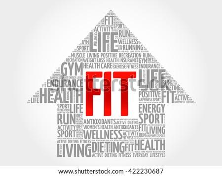 FIT arrrow word cloud, health concept - stock photo
