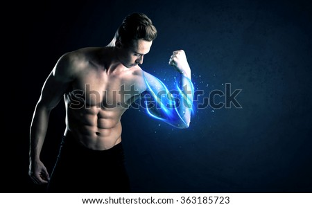 Fit athlete lifting weight with blue muscle light concept on background - stock photo