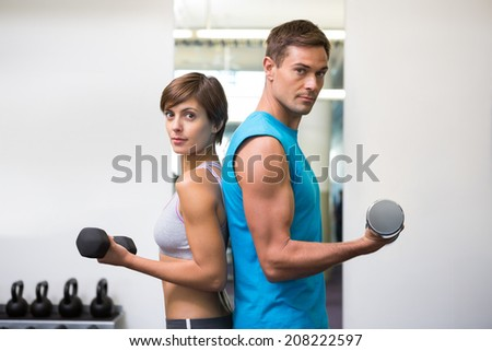 Fit couple lifting dumbbells together at the gym - stock photo