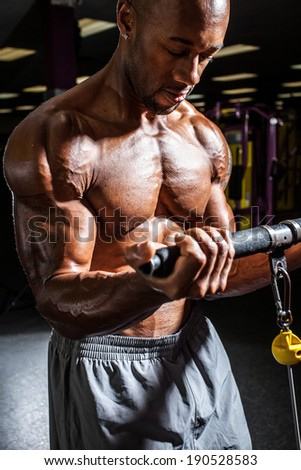 Fit male body builder working out  using a resistance weight machine. - stock photo