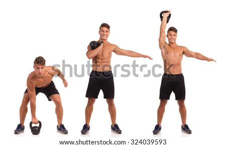 Fit man in sport shorts and sneakers showing a kettlebell exercise step by step. Full length studio shot isolated on white. - stock photo