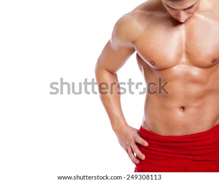 Fit man in towel, isolated on white background - stock photo