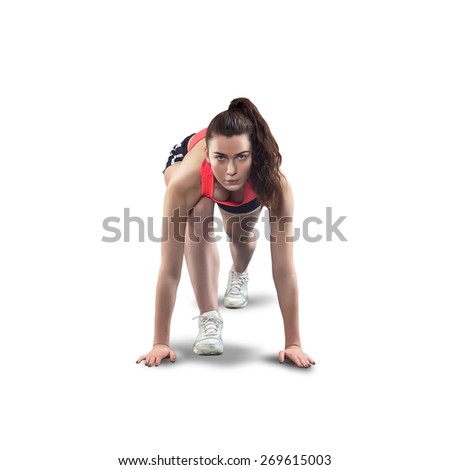 fit sporty woman on start isolated on white background - stock photo