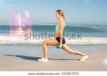 Fit woman doing weighted lunges on the beach against fitness interface - stock photo