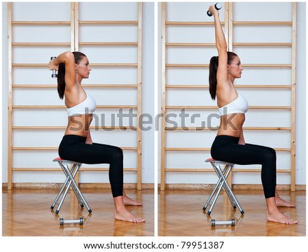 fit woman in fitness salon exercise routine - stock photo