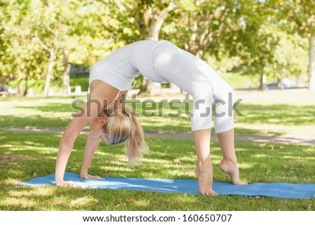 Fit young woman doing crab yoga pose in a park - stock photo