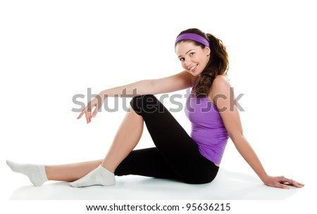 Fitness active woman doing stretching exercise - stock photo