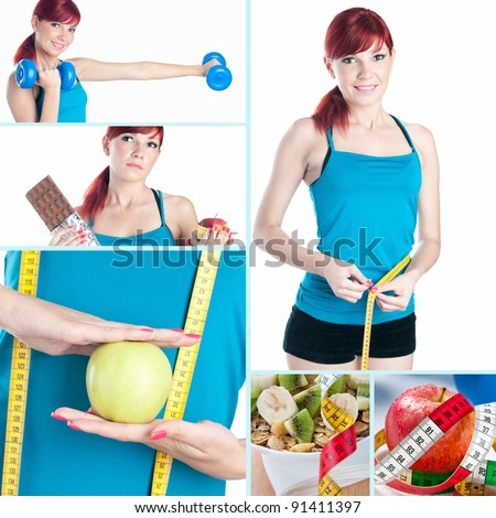 Fitness and healthy-eating collage - stock photo