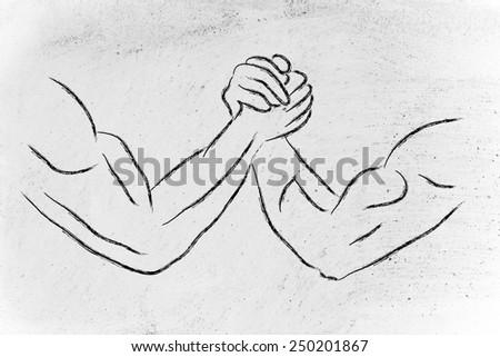 fitness and strength training: arm wrestling challenge illustration - stock photo