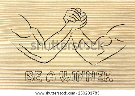 fitness and strength training: arm wrestling challenge illustration, be a winner - stock photo
