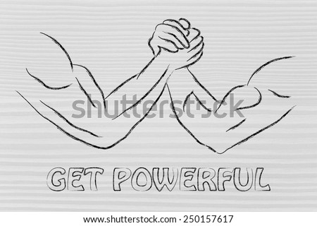 fitness and strength training: arm wrestling challenge illustration, get powerful - stock photo