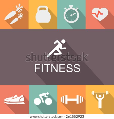 Fitness background and icons in flat  style. - stock photo